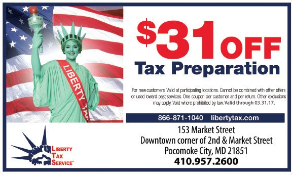 Save $31 off tax preparation with your Frugals coupon at Liberty Tax of Pocomoke, MD. New clients only, print out this money saving offer at www.frugals.biz. 410.957.2600