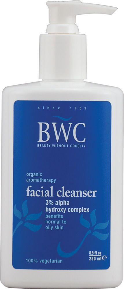 BWC Aromatherapy Skin Care AHA Facial Cleanser - sabonete facial orgânico sem sabão com AHA 3%. Equilibra o PH da pele, limpa sem agredir, ideal para peles normais a oleosas. Contém óleo de laranja, calêndula e ylang ylang. Vende online, lojas de cosméticos dos EUA e UK. Preço Médio: US$ 10. #cosmeticdetox #beautywithoutcruelty #limpezafacial #AHA #facialcleanser #skincare