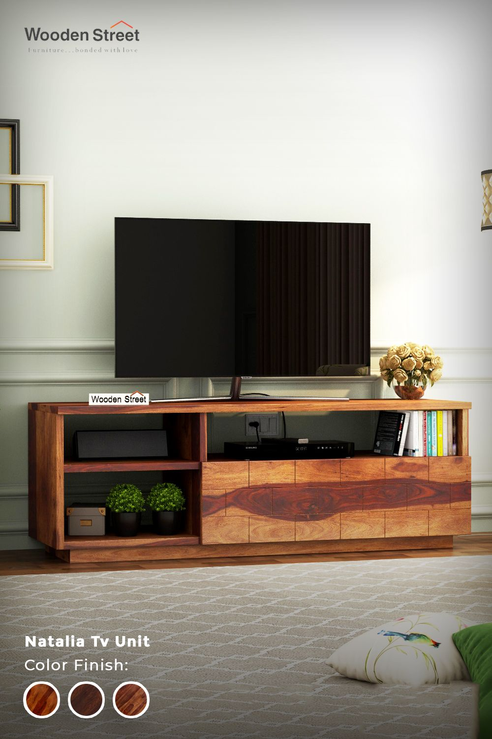 Looking To Purchase This Unit: Buy Natalia Tv Unit (Honey Finish) Online In India