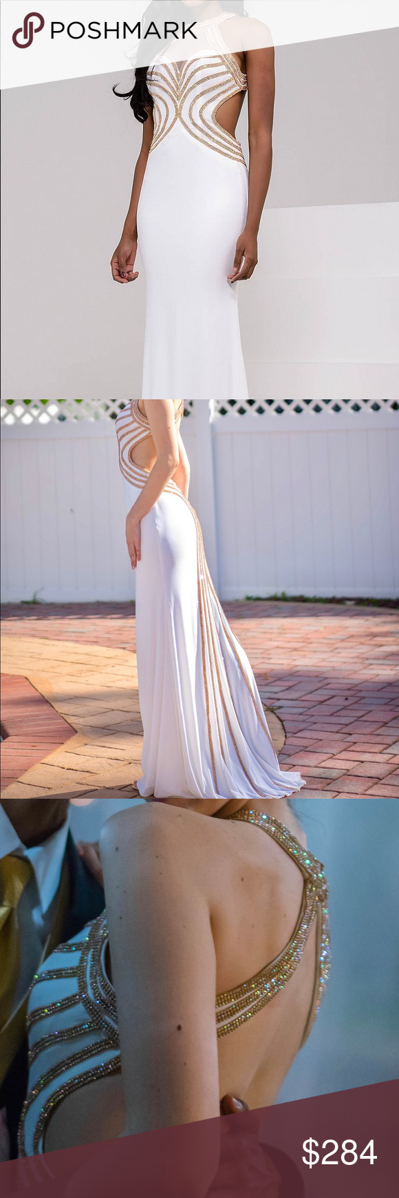 White prom dress backless gown blue gown and jovani dresses