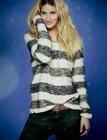 FREE PEOPLE $108 Three Spinners Striped Nubby Knit Pullover ...