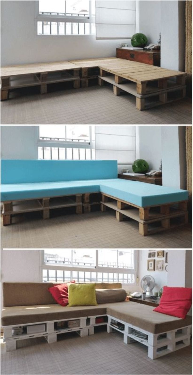 Corner Sofa With Blue Cushion. Make A Couch For The Living Room