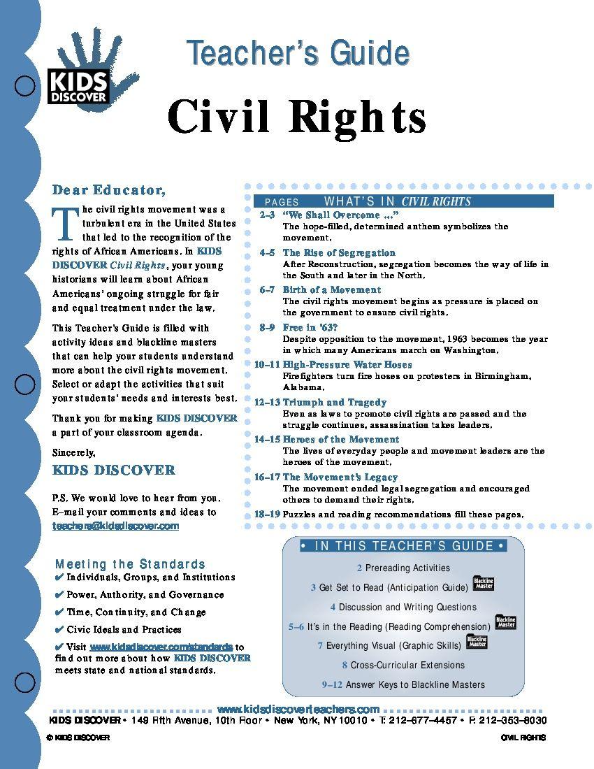 civil rights kids discover teacher guide library media center rh pinterest com