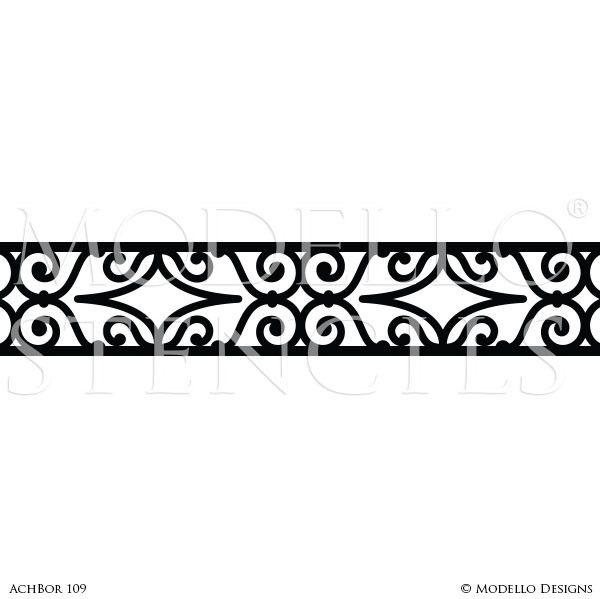 Decorative Border Stencils For Custom Wall Art Or Ceiling Designs Modello Stencils Custom Wall Art Ceiling Design Wall Patterns