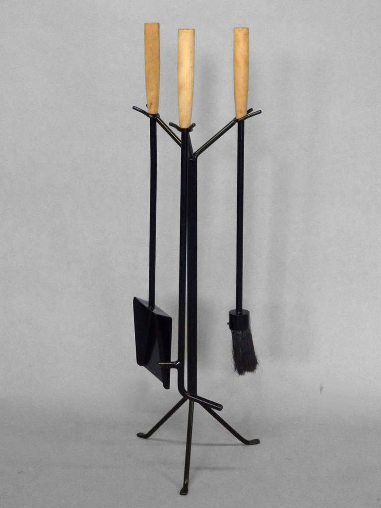 Wrought Iron with Wood Handle Modernist Fire Tools by George ...
