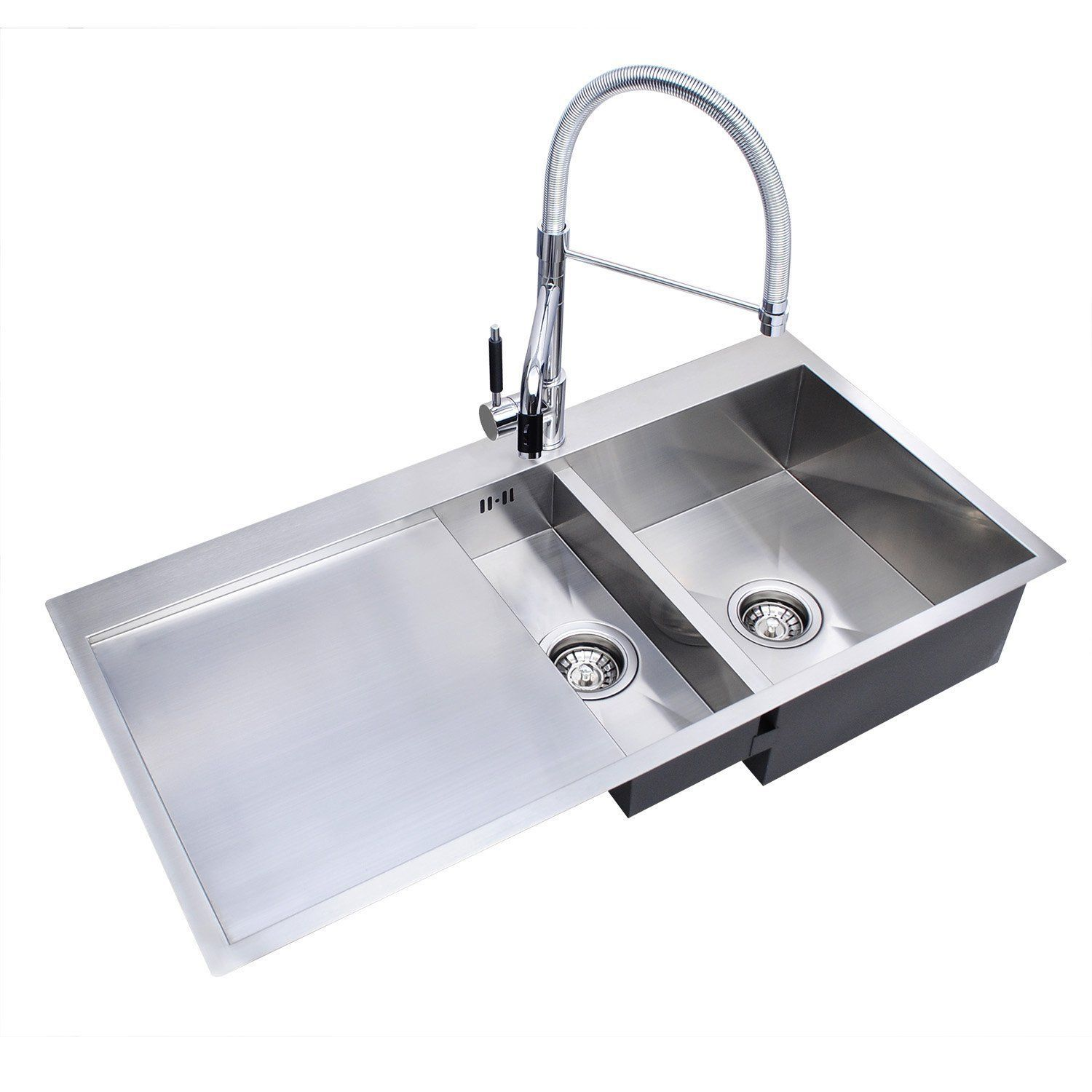 Handmade Square 1 5 Bowl Kitchen Sink Stainless Steel Left Hand Drainer Waste Ebay Stainless Steel Kitchen Sink Sink Kitchen Sink