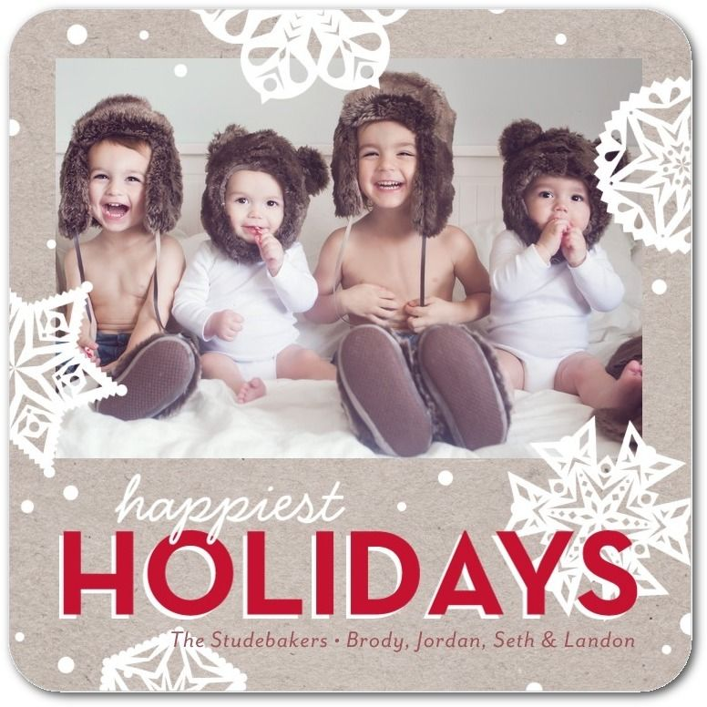 Krafty Snowflakes - Flat Holiday Photo Cards in Winterberry or Navy | Petite Alma