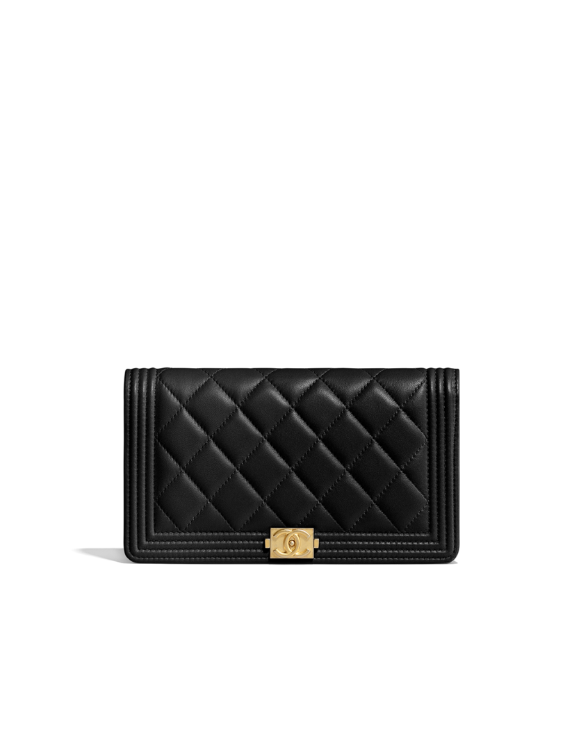 96f863287d BOY CHANEL wallet, lambskin & gold-tone metal-black - CHANEL | Bag ...
