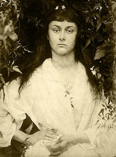 Alice Liddell as a young woman in 1872 by Julia Margaret Cameron (1815 - 1879).  Alice as a child inspired Lewis Carroll to write the classic Alice's Adventures in Wonderland.