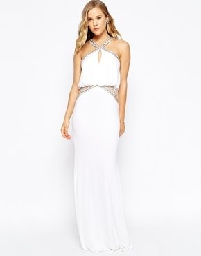 Forever Unique Maxi Dress With Embellished Necklace and Waist - Ivory
