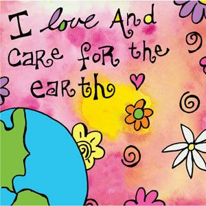 I Love and Care for the Earth... Large Square Magnet