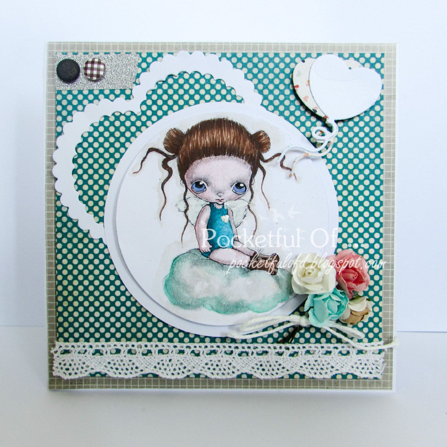 Handmade Baby Girl Card Greeting Cardhand Colored Ppinkydolls