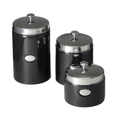 Black Contempo Canisters Set Of 3