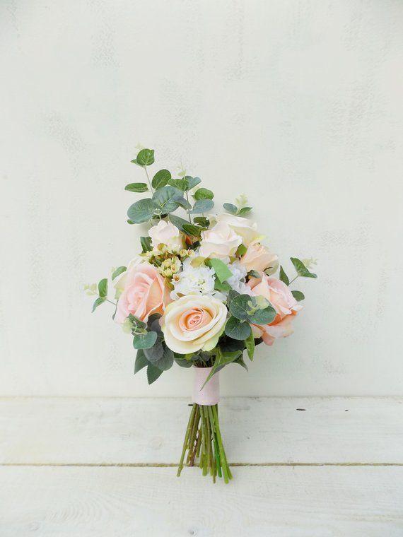 Elfenbein erröten Pfirsich Hochzeit Blumen Paket Brautstrauß Brautjungfer Posies Set Kunstsei…