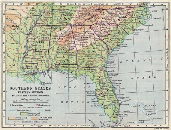 Vintage Map Southern States Eastern Deep South Ms Tn Al Ga Fl Sc: Map Of Florida Georgia And North Carolina At Usa Maps