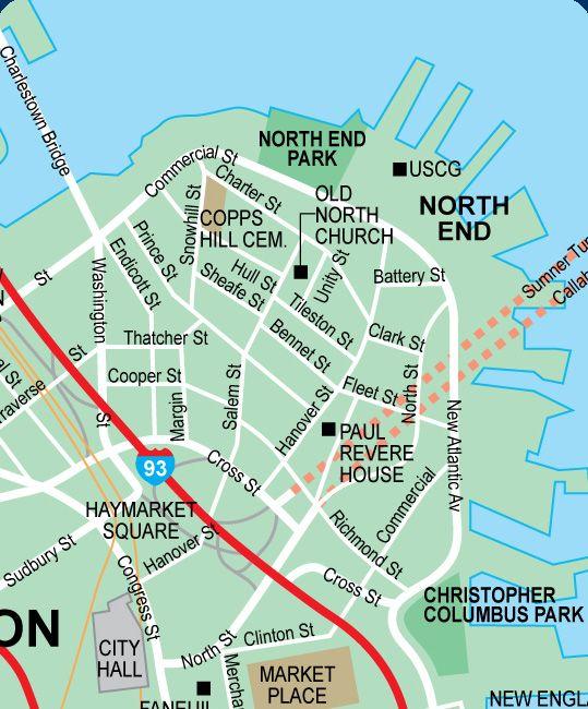 North End Boston Map North End   Boston map, Boston summer, New england travel