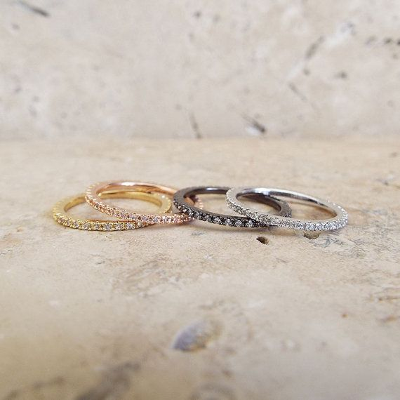 1 Mm White Gold High Quality Eternity Ring Cz Diamond Stacking Rhodium Full Micro Pave Ultra Thin Wedding Band
