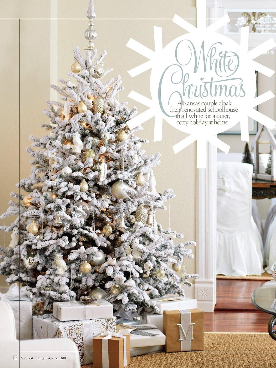 A festive flocked tree! | Christmas / Winter | Pinterest | Christmas ...