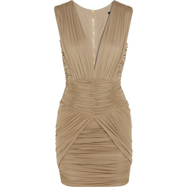 Balmain Ruched stretch-jersey mini dress (12.755 NOK) ❤ liked on Polyvore featuring dresses, taupe, rouched dress, ruched mini dress, taupe dress, stretch jersey dress and shirring dress