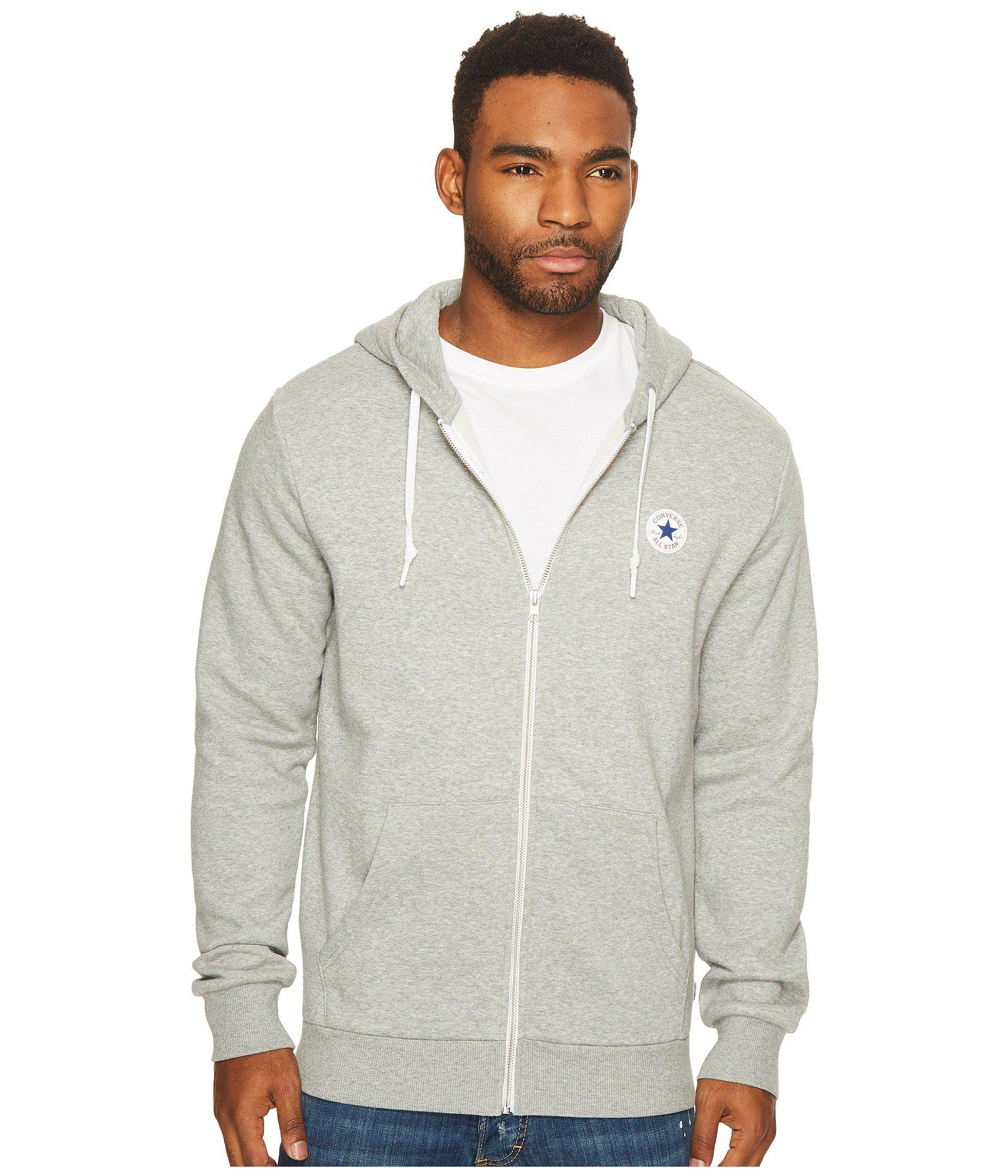 be3aa7799c501 Core Fleece Full Zip Hoodie, Vintage Grey Heather   Converse Men ...