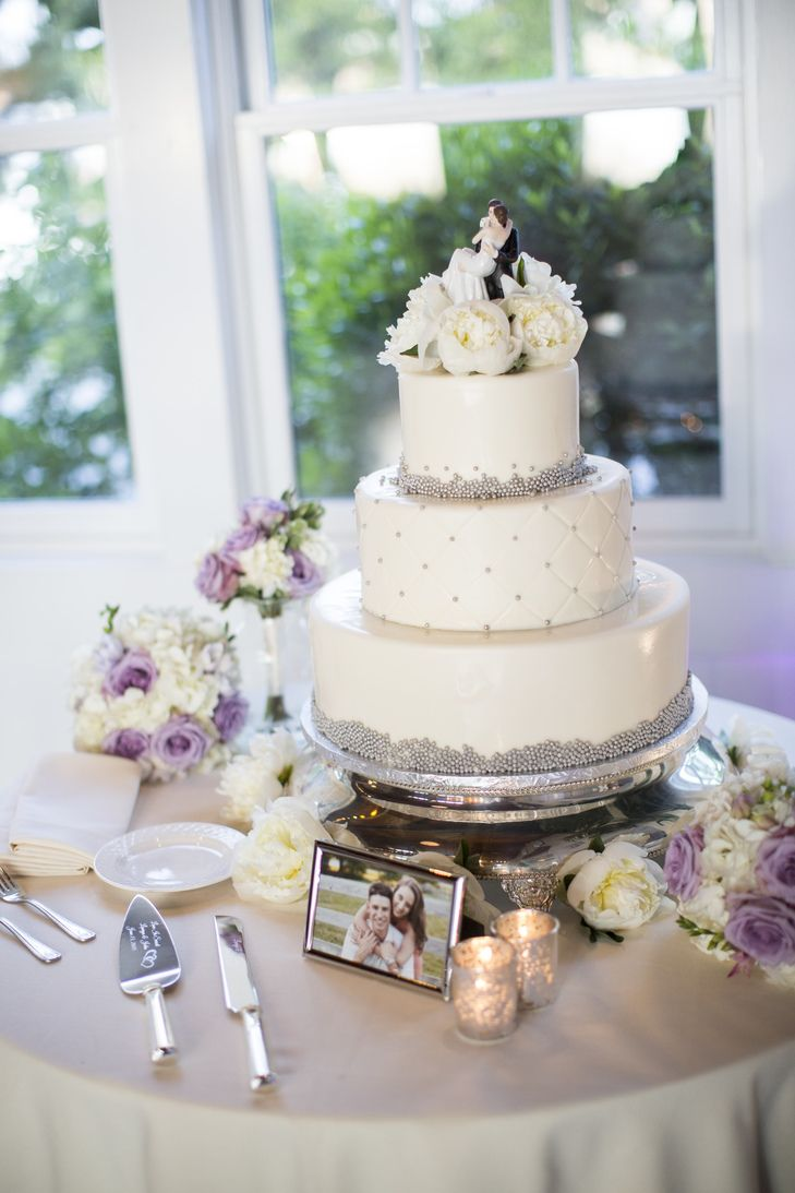 Three-Tiered White and Silver Wedding Cake   SugarBakers Cakes https ...