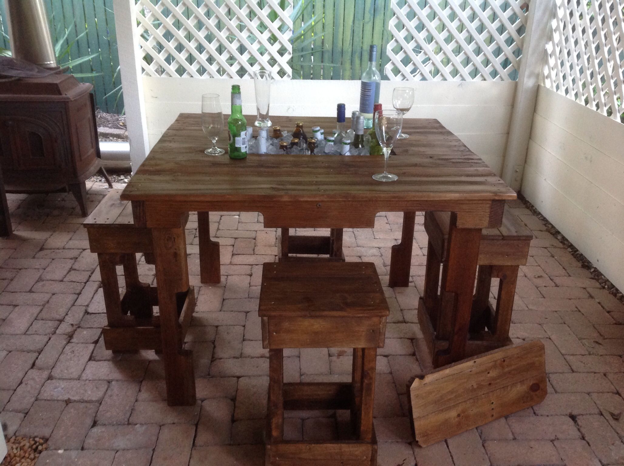 Pallet wood entertainer table with drinks container pallet wood pallet wood entertainer table with drinks container pallet wood stools made by touchwood creations coast australiasunshine geotapseo Choice Image