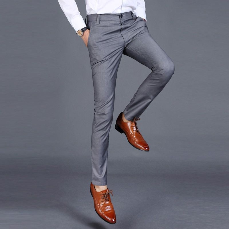 2019 Men Fine Wool In Winter To Keep Warm Pure Color Fashion Business Formally Suit Pants Male Leisure Mens Pants Casual Mens Dress Pants Cotton Casual Pants