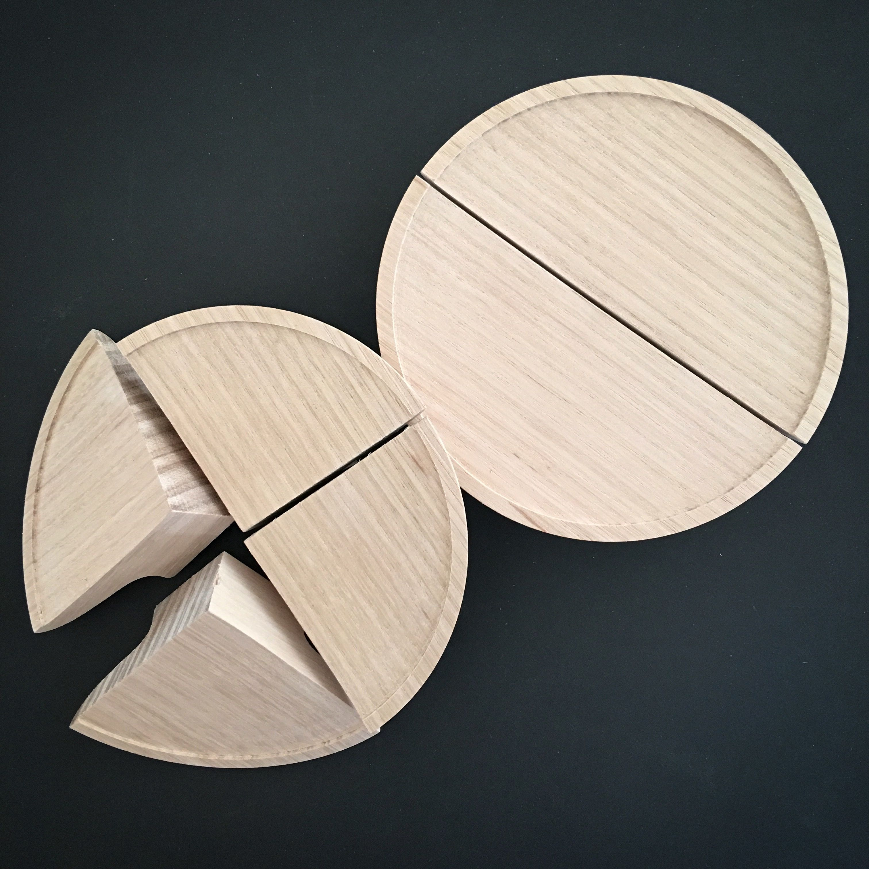 Half moon and quarter moon 'Plat' handles. Tasmanian oak.   Wooden ...