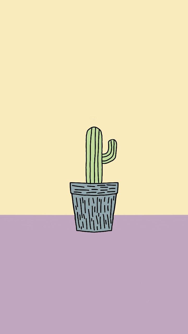 Cactus Wallpaper Phone Iphone Vector Cartoon Drawing Cactus Yellow Purple Illustration Inpiration Wallpaper Ponsel Ilustrasi Kaktus Aesthetic cute cartoon cactus wallpaper