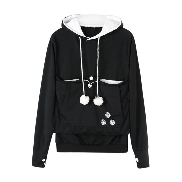 eaec45f4ff11 Cat Lover Long Sleeve Hoodie Sweatshirt - with Kangaroo Style Cat Holding  Front Pocket