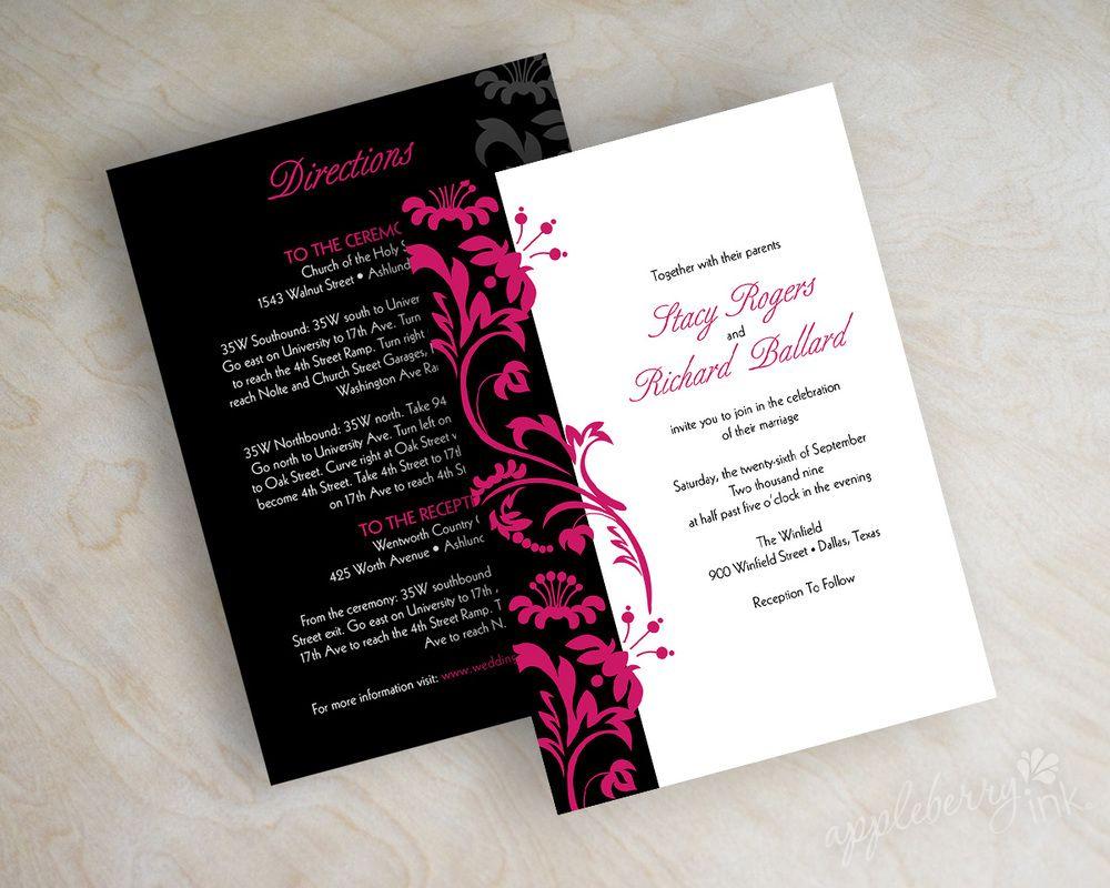 Swirly Vines Wedding Invitations. Shown in fuchsia, hot pink ...