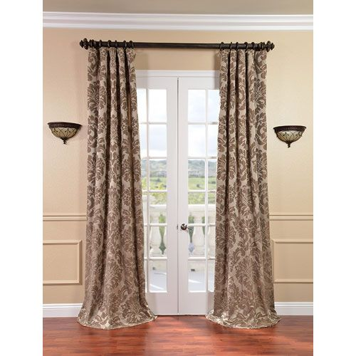 Half Price Drapes Astoria Taupe And Mushroom Faux Silk Jacquard Single Panel Curtain 50 X 96 Jqch 201266 96 Half Price Drapes Curtains Curtain Styles