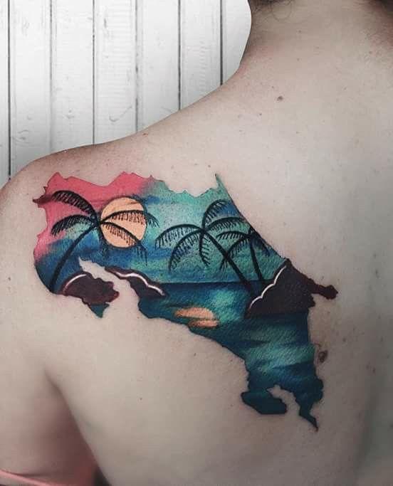 tatuajes costarica mapa tatuaje playa sol mar tatuajes pinterest tattoo tattos and. Black Bedroom Furniture Sets. Home Design Ideas
