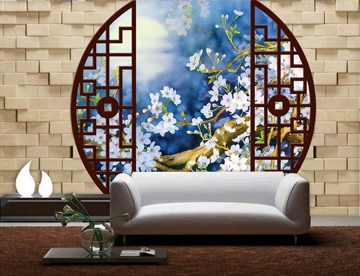 papier peint trompe l 39 oeil 3d paysage traopical maisons flottantes tapisserie 3d fleur de. Black Bedroom Furniture Sets. Home Design Ideas