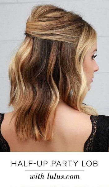 Simple Half Up Party Lob Bridesmaid Hair Medium Length Bridesmaid Hair Medium Length Half Up Medium Length Hair Styles