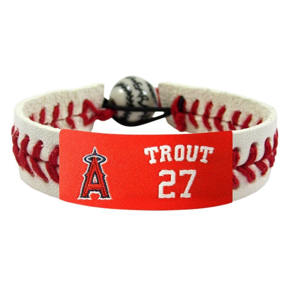 Los Angeles Angels No 27 Mike Trout Leather Wristband