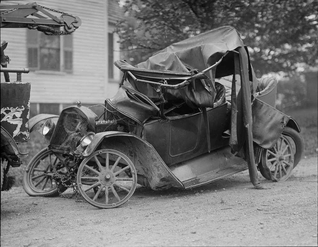 Vintage car wrecks from the great motoring boom taken
