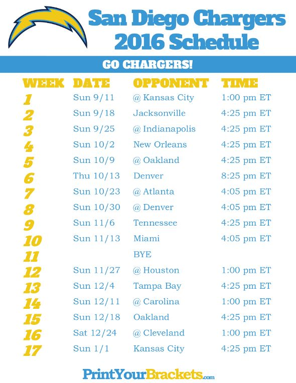 san diego chargers schedule 2016 printable nfl schedules