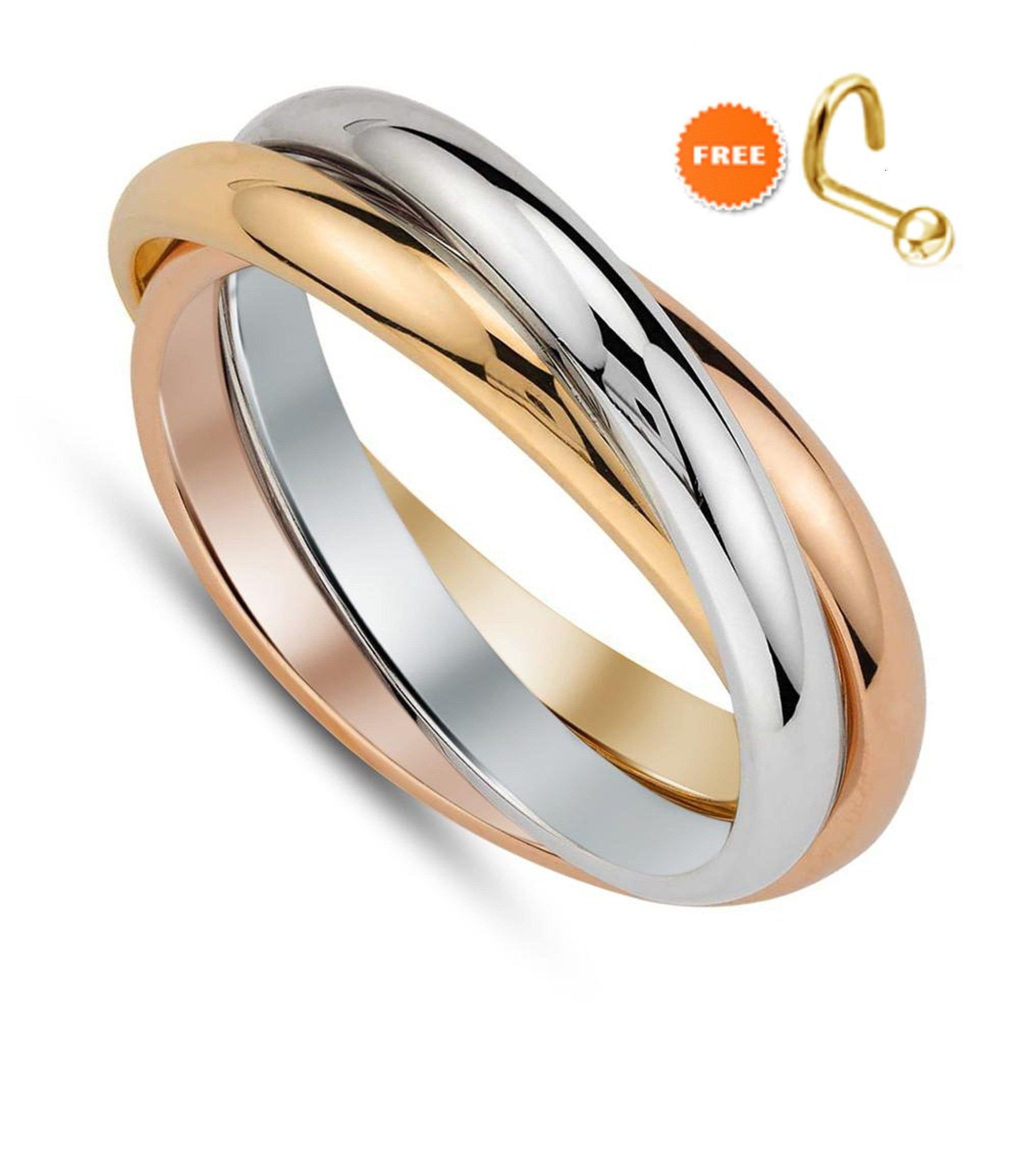 Three Tone Ring 14k 18k Gold Plated Women S Band Ladies Fancy Ring Wedding Ring Band 3 Color Ring Stackable Ring Free Gift Three Tone Ring Beautiful Diamond Rings Men Diamond Ring