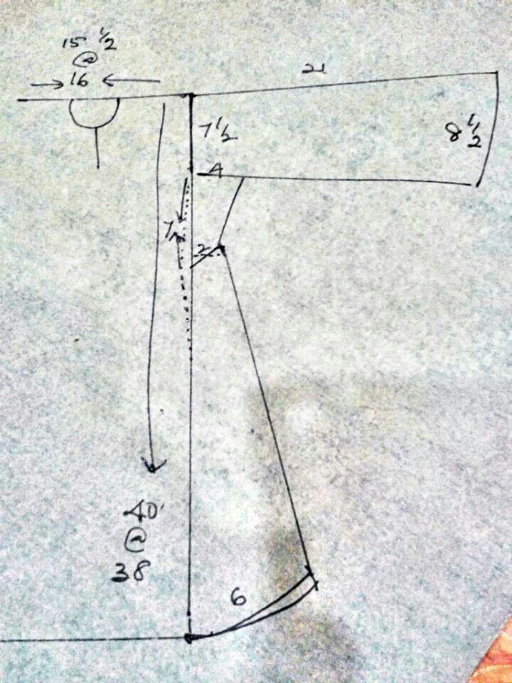 kurung riau - dititik2 masukkan 1  2 inci  pesak bwh kembang 10