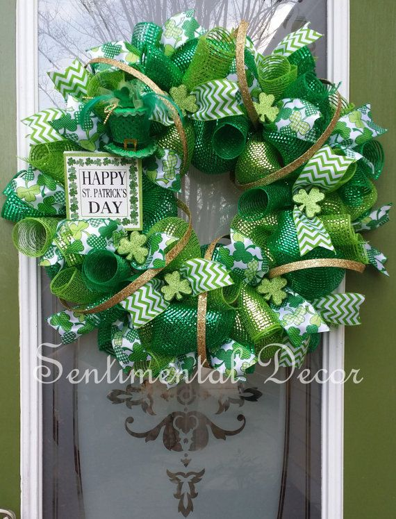 st patrick 39 s day wreath saint patty 39 s green clover deco mesh wreath irish green wreath. Black Bedroom Furniture Sets. Home Design Ideas