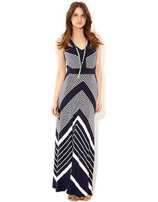 Navy red striped maxi dress