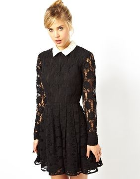 Asos Lace Skater Dress With Collar