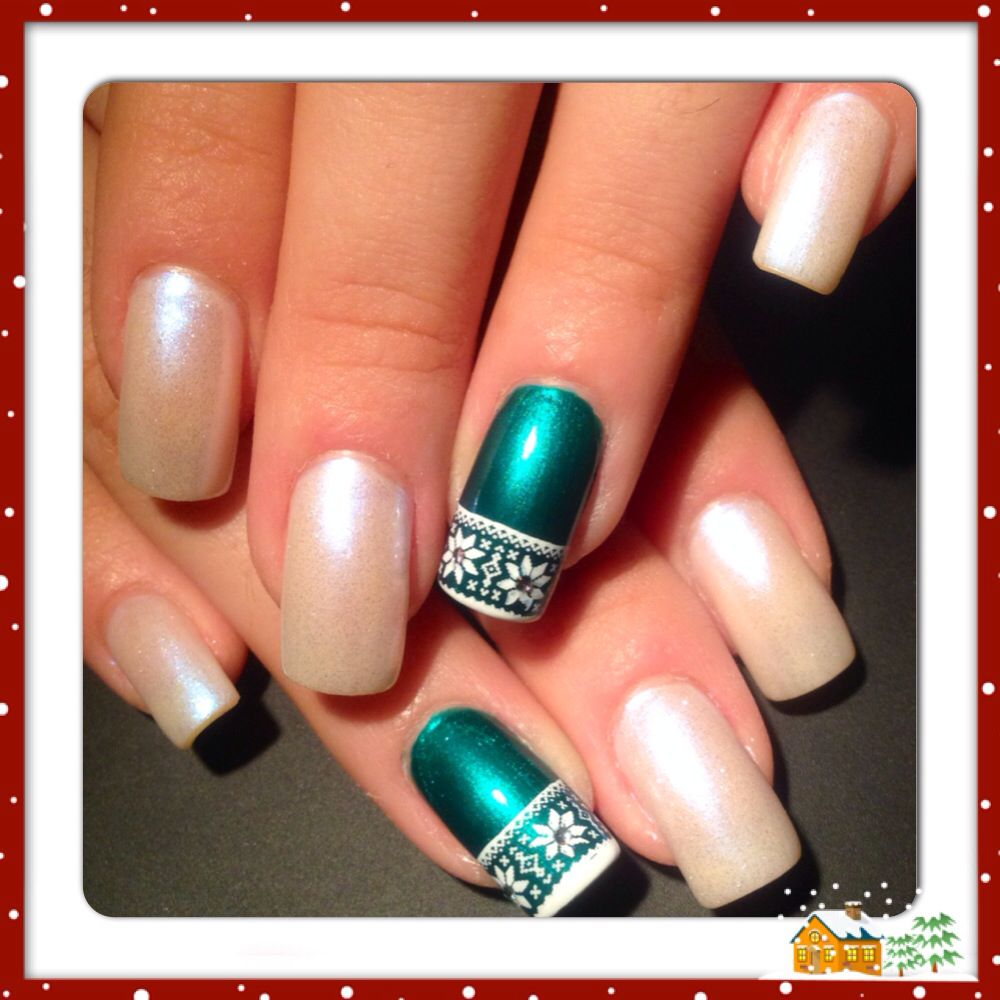 French manicure snowflake nails 2013 happy holidays! | Nails ...