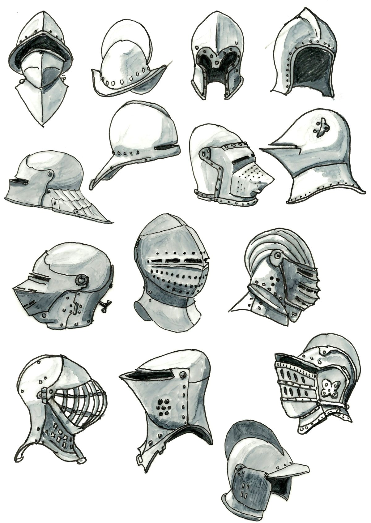 Medieval Helmet Drawing : medieval, helmet, drawing, Helmets, Kluwe, DeviantART, Armor, Drawing,, Concept, Characters,, Medieval