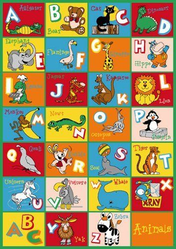 Kids rug abc animals area rug teach your little one their - Kitchen and dining area design crossword ...