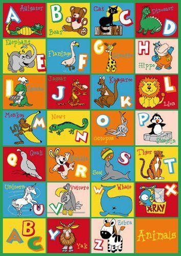 kids rug abc animals area rug 5u0027 x 7u0027 free shipping