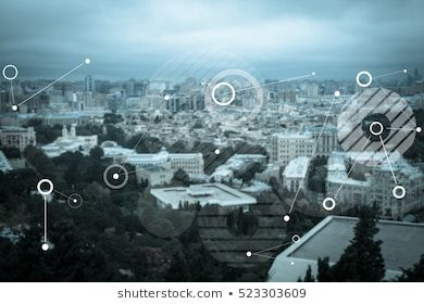Abstract technology background on the city
