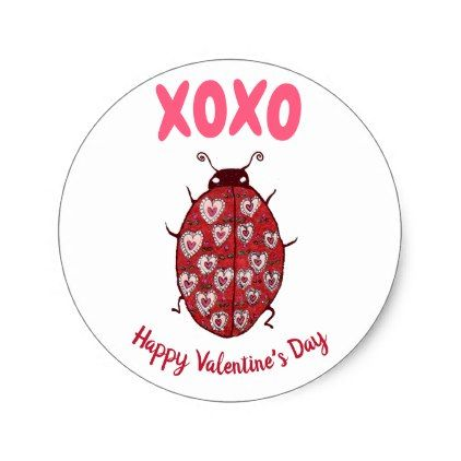 Cute Valentines Day Heart Ladybug Pink Hugs Kisses Classic Round