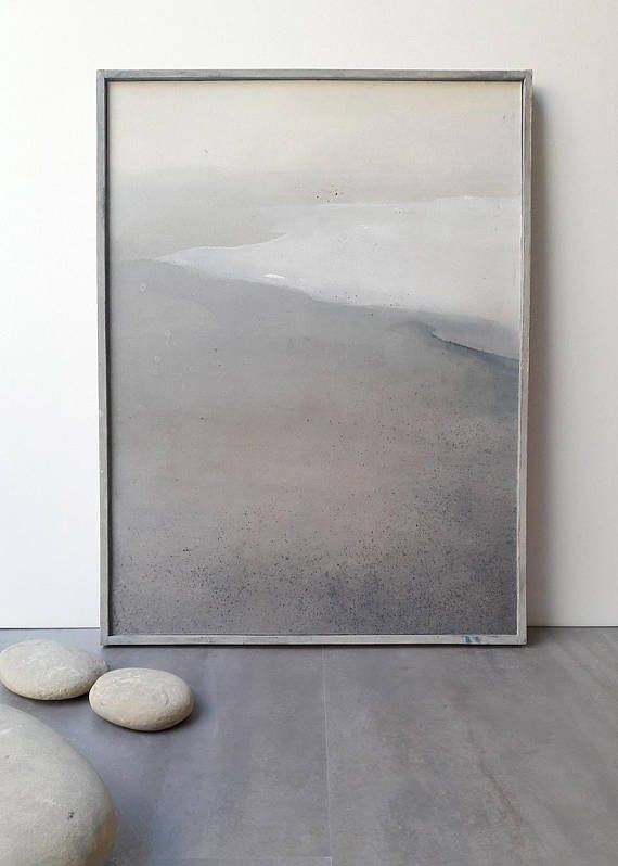 Photo of Original Paintings, Abstract Landscape with Frame / Abstract art / Contemporary Painting / Mixed Media Original Art